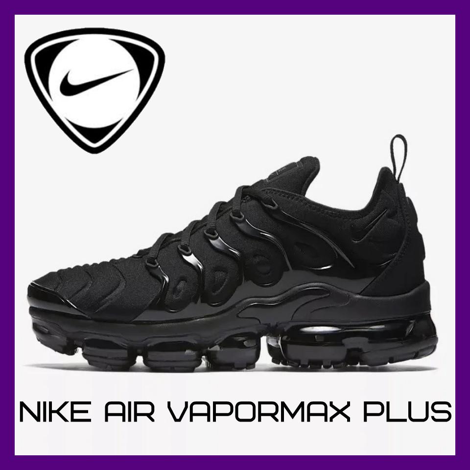 Мужские Кроссовки Nike Air VaporMax Plus Чёрные Найк Мужские кроссовки NIKE Кроссовки Видео Обзор