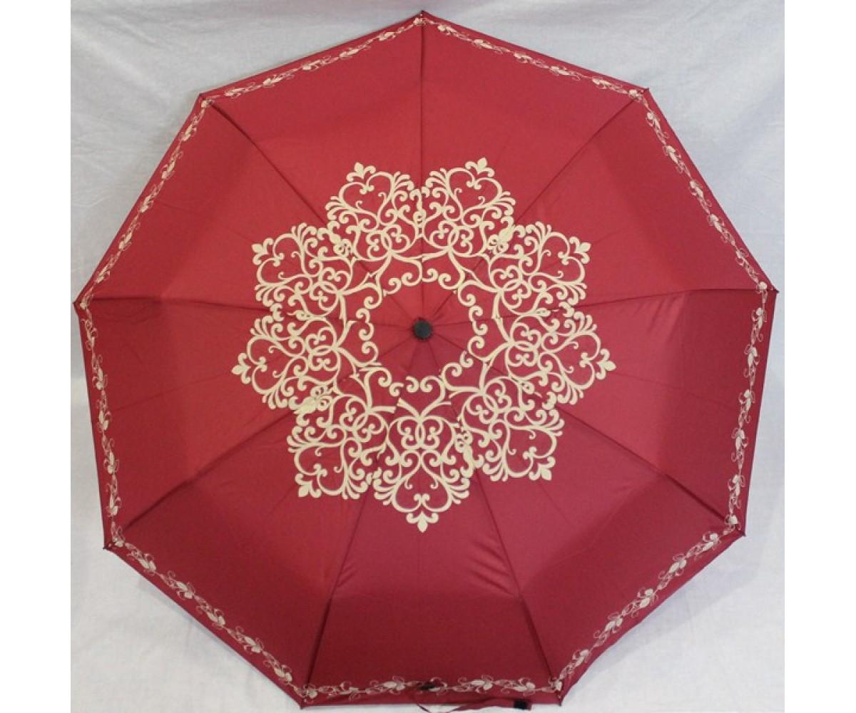 Зонт-полуавтомат женский складной от дождя Антиветер 3 сложения MARIO UMBRELLA