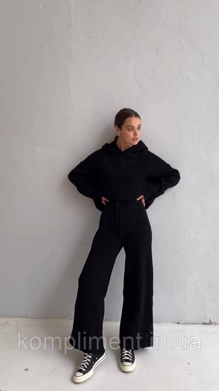 Женский теплый вязаный комплект худи с брюками, черный