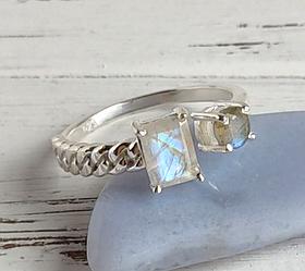Серебряное кольцо разъемное с лунным камнем и лабрадором
