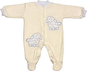Дитячий теплий чоловічок зростання 56 0-2 міс махровий молочний на хлопчика сліп для новонароджених малюків