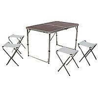 Стол для пикника, рыбалки складной + 4 стула ВИШНЯ