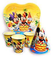 """Набор для детского дня рождения """" Микки и его друзья """". Тарелки -10шт. Стаканчики - 10шт. Колпачки - 10шт."""