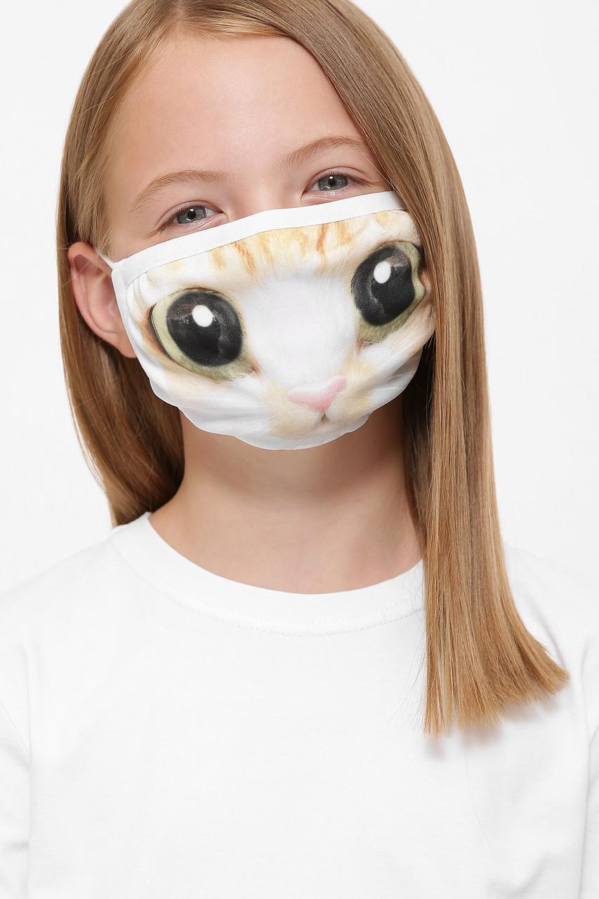Дитяча захисна маска на обличчя біла з принтом