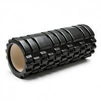 Массажный ролик EasyFit Grid Roller v1.1 33 см черный (роллер, валик, цилиндр)