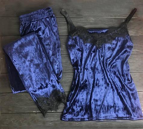 Велюровая пижама с кружевом BR-S майка и штаны синие 48 р. 1266405235, фото 2
