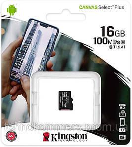 Карта пам'яті Kingston microSDHC Canvas Select Plus 16GB Class 10 UHS-I A1 R-100MB/s Без адаптера
