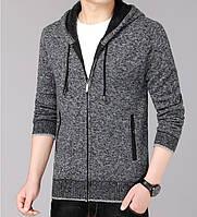Мужская кофта на меху теплая зимняя на молнии с капюшоном и карманами