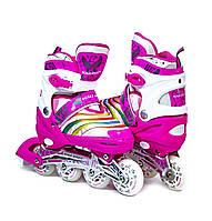 Ролики раздвижные детские Scale Sports 907 Ярко Розового цвета, размеры 29-33; 34-37; 38-41