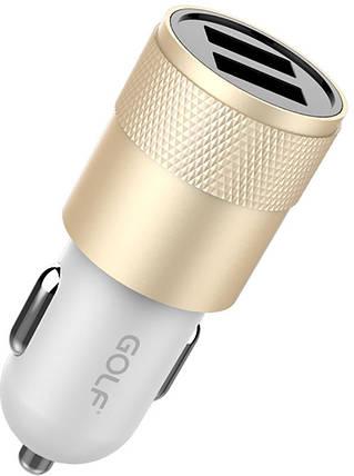 Автомобильное зарядное устройство GOLF GF-C13 Car charger 2USB 2.1A Gold, фото 2