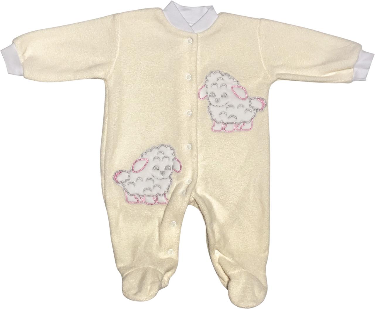 Дитячий теплий чоловічок ріст 68 3-6 міс махровий молочний на дівчинку сліп для новонароджених малюків Д445