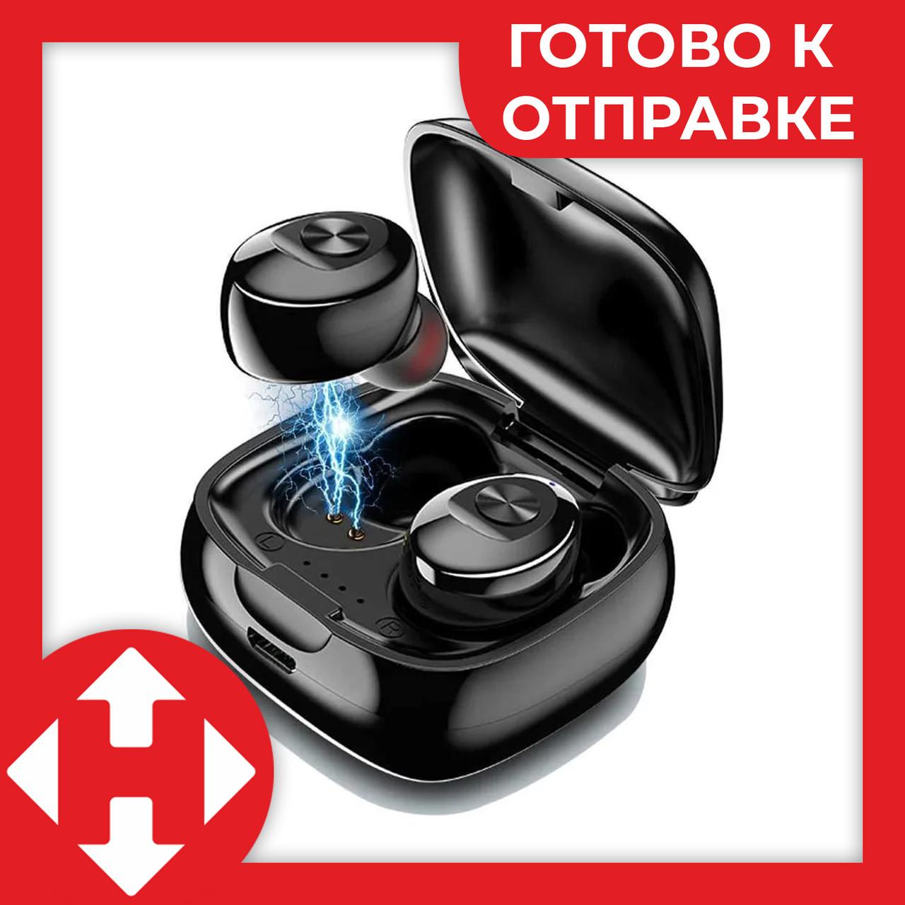 Блютуз гарнитура для телефона XG Mini TWS 5.0 наушники беспроводные Bluetooth Чёрные + зарядный кейс