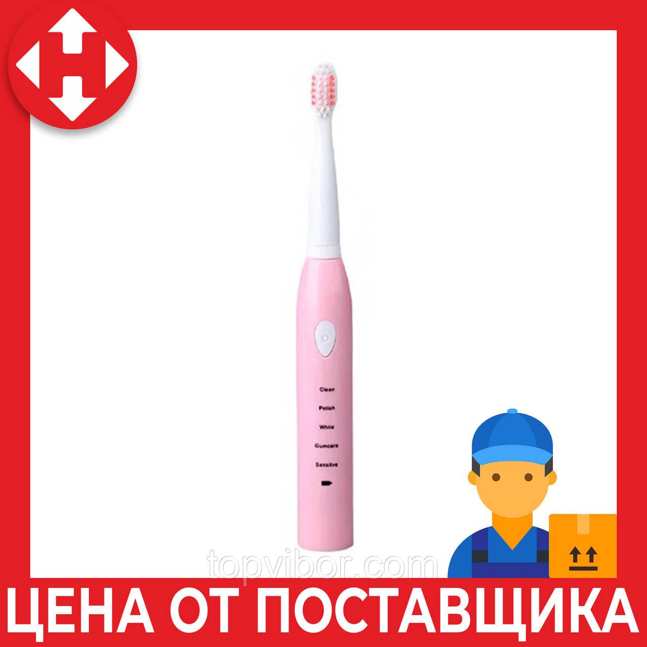 Электрощетка электрическая зубная щетка со сменными насадками от USB Phyopus для детей и взрослых розовая