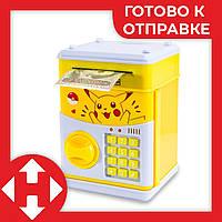 """Детский сейф с кодом, для денег, игрушечный (""""Пикачу"""", желтый) копилка детская музыкальная - дитячий сейф, фото 1"""