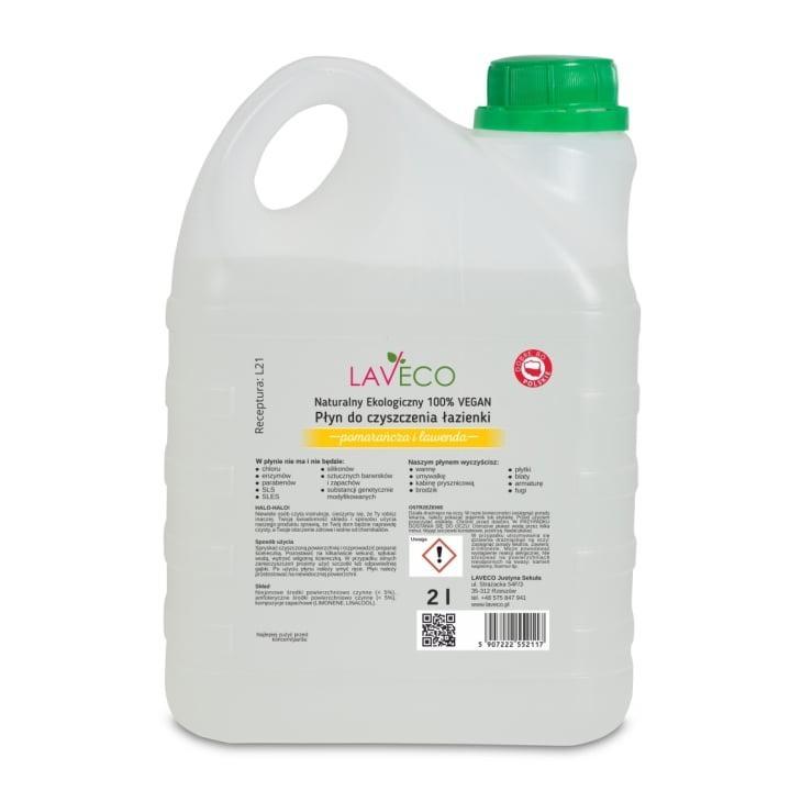 Натуральный очиститель для ванной, Апельсин и лаванда 2л Laveco