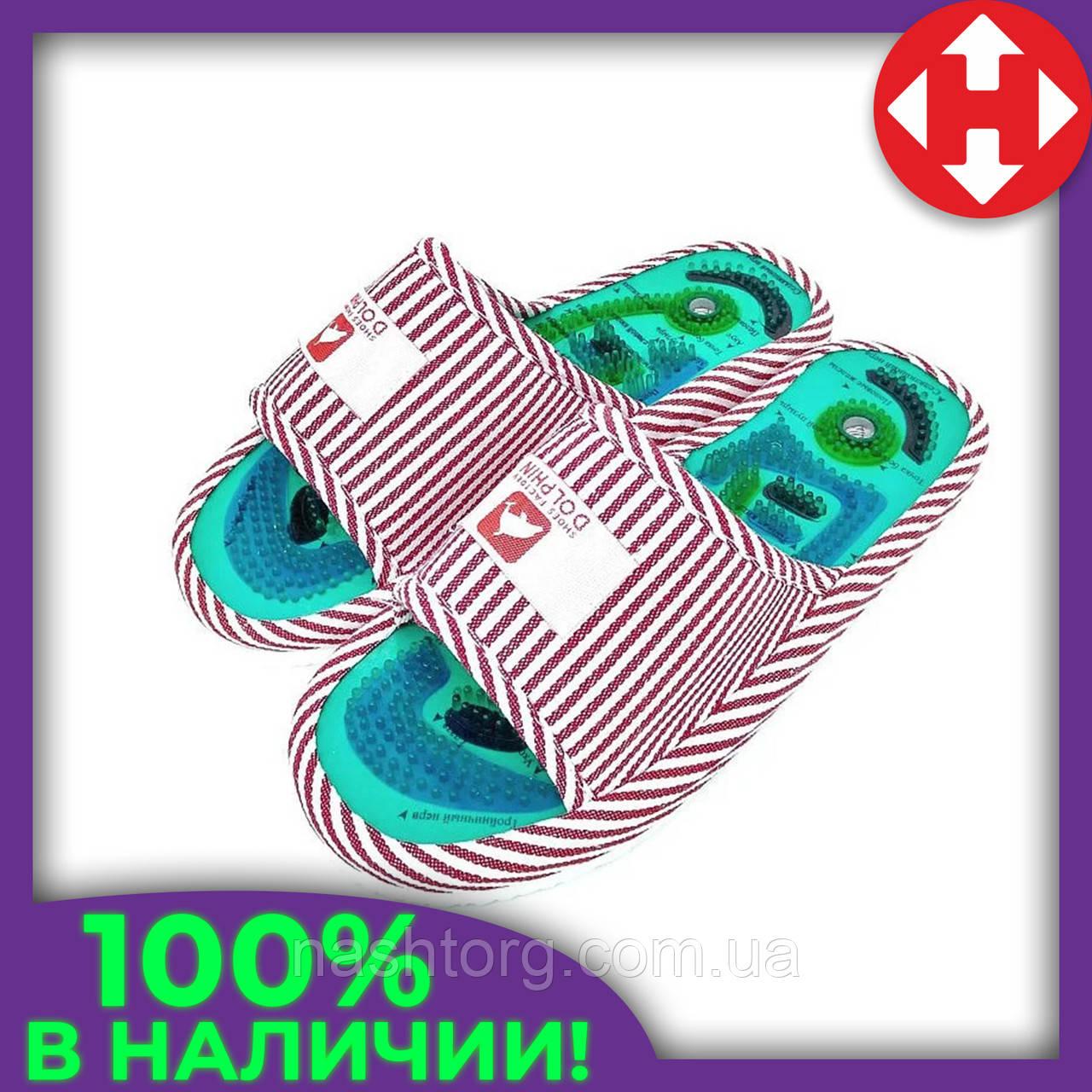 Домашние массажные тапочки Dolphin Factory женские тапки ортопедические с шипами красно-белые 36-38