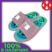 Домашние массажные тапочки Dolphin Factory женские тапки ортопедические с шипами красно-белые 36-38, фото 1