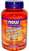 NOW Arginine 500 мг & Citrulline 250 мг - 120 веган кап