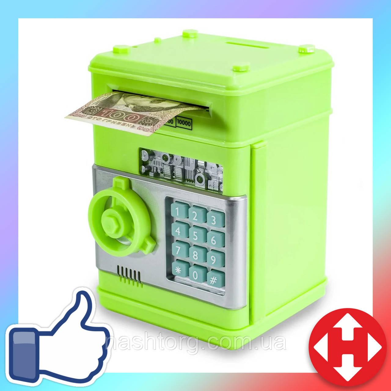 Распродажа! Копилка детская (зелёный корпус, круглая зеленая ручка, бирюзовые кнопки) детский игрушечный сейф