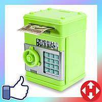 Распродажа! Копилка детская (зелёный корпус, круглая зеленая ручка, бирюзовые кнопки) детский игрушечный сейф, фото 1
