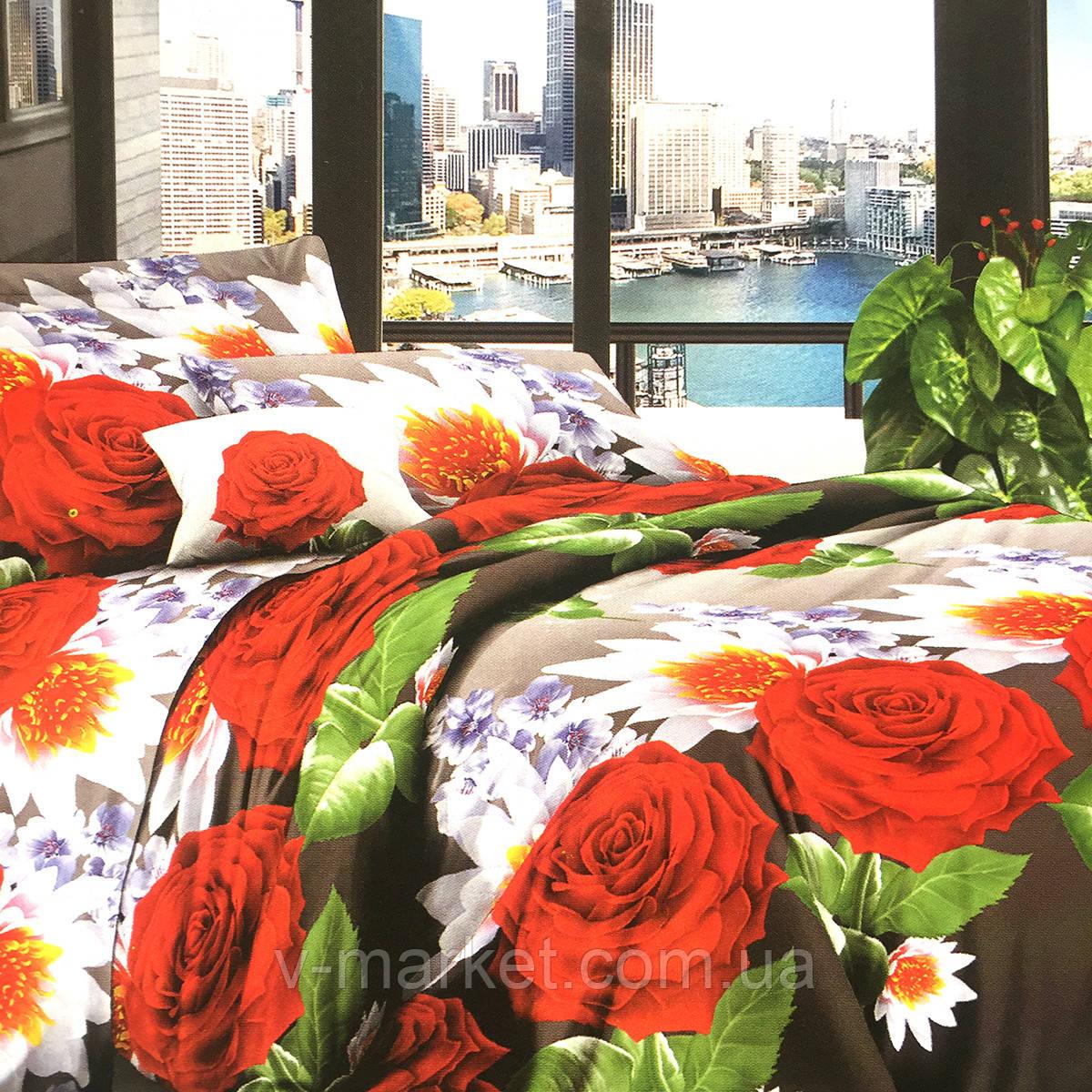 """""""Квіти"""" постільна білизна бязева двоспальне 170/210, нав-ки 70/70, тканина бязь"""