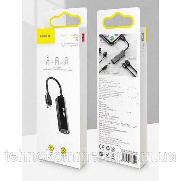 Кабель-перехiдник Baseus 3-in-1 iP Male to Dual iP & 3.5mm Female Adapter L52 Black, фото 2