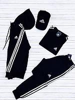 Спортивный костюм мужской Adidas (Адидас) зимний черный до - 25*С трехнитка с начесом на флисе теплый | ЛЮКС