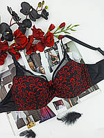 Лифчик Lanny Mode с сеточкой 80E черный  с красным (11958), фото 1