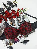 Лифчик Lanny Mode с сеточкой 85E черный  с красным (11958), фото 1