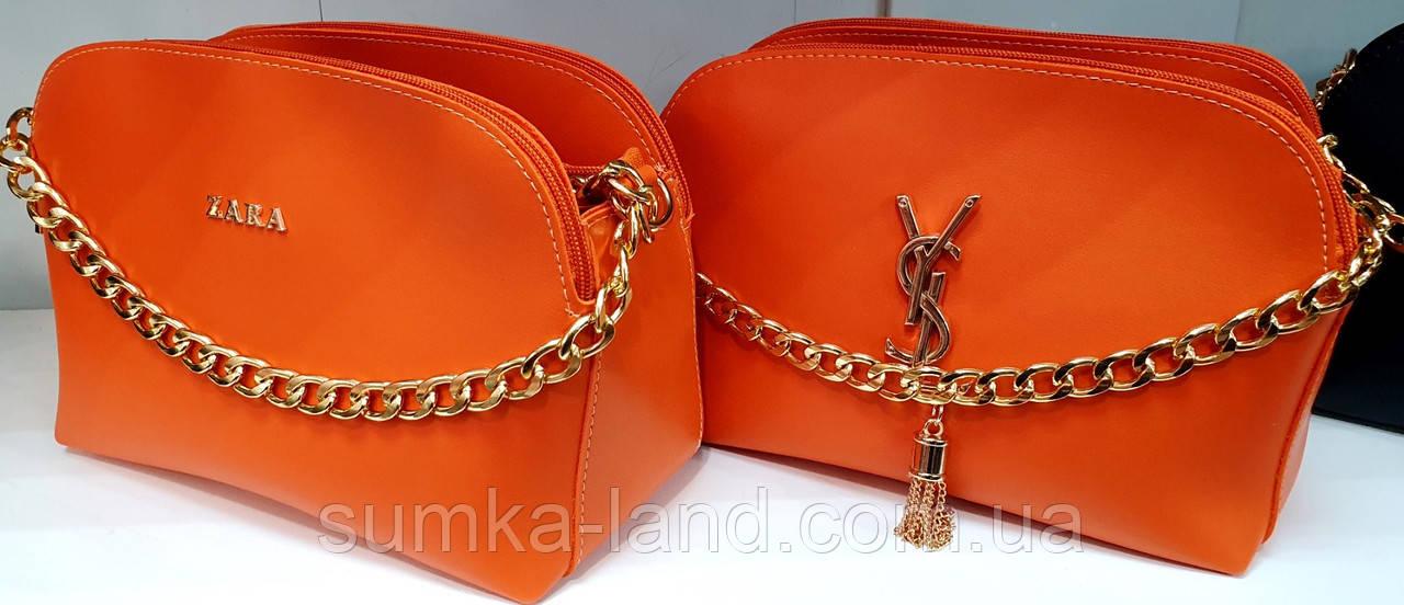 Жіночі помаранчеві клатчі Zara і YSL з турецької еко-шкіри на 3 відділення 25*17 см