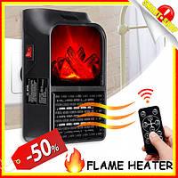 Портативный обогреватель с пультом Flame Heater электрический камин с LCD-дисплеем, тепловентилятор дуйка