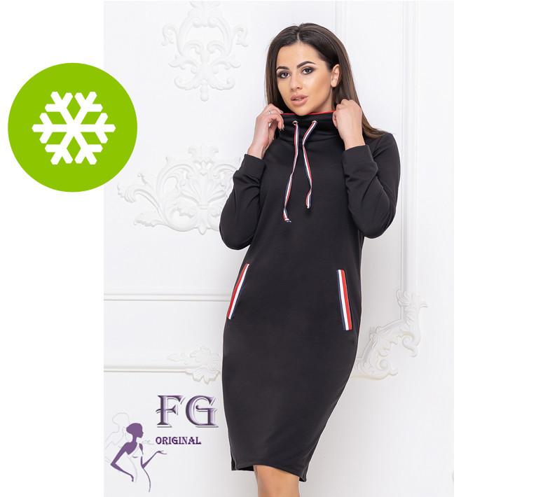 Платье черное теплое в спортивном стиле фасон худи размеры до 56
