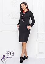 Платье черное теплое в спортивном стиле фасон худи размеры до 56, фото 2