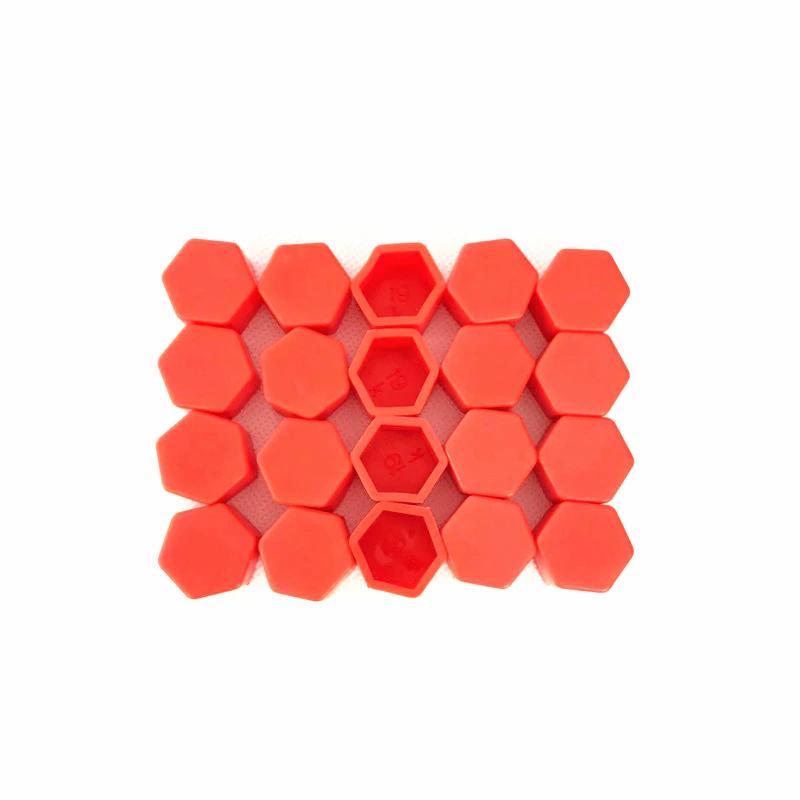 Захисні силіконові ковпачки на колісні гайки 21 мм червоні