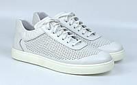 Кроссовки кожаные летние белые перфорация женская обувь больших размеров Rosso Avangard Mozza White Star Perf