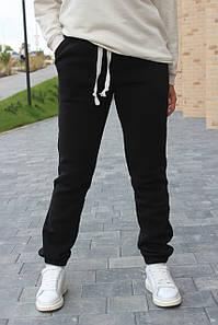 Тёплые женские спортивные штаны брюки на флисе №333.11 черные