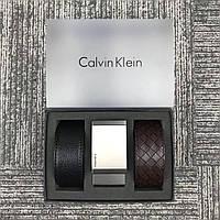 Ремень черный + ремень коричневый мужской стильный подарочный Кельвин Кляйн