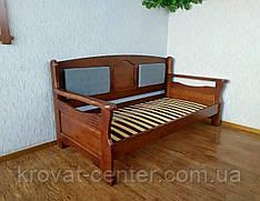 """Диван ліжко з м'якою спинкою з масиву дерева """"Орфей Преміум - 2"""""""
