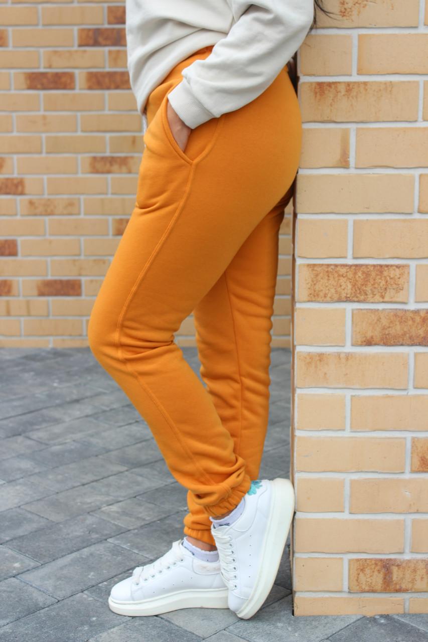 Тёплые женские спортивные штаны брюки на флисе №333.11 горчица