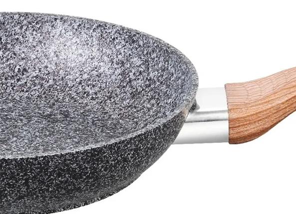 Сковорідка Benson з кришкою і чорно-біло-сірим гранітним покриттям 22 см, фото 2