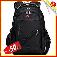 Рюкзак швейцарський міської 8810 Рюкзак свисгир для ноутбука з USB чорний