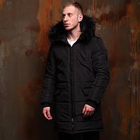 Мужская зимняя куртка длинная (парка) теплая с капюшоном на меху черная Турция. Живое фото. Чоловіча куртка