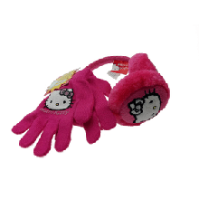 Набор теплые наушники и перчатки на девочку Hello Kitty