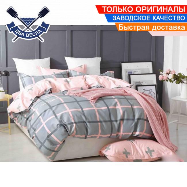 Комплект постельного белья двуспальный Евро размер хлопок 100% сатин В-0117 + подарочные коробка и пакет