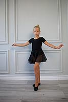 Юбка клеш для танцев шифоновая черная