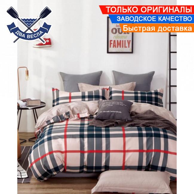 Комплект постельного белья двуспальный Евро размер хлопок 100% сатин В-0250 + подарочные коробка и пакет