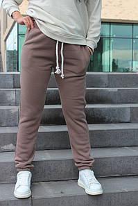 Тёплые женские спортивные штаны брюки на флисе №333.11 капучино