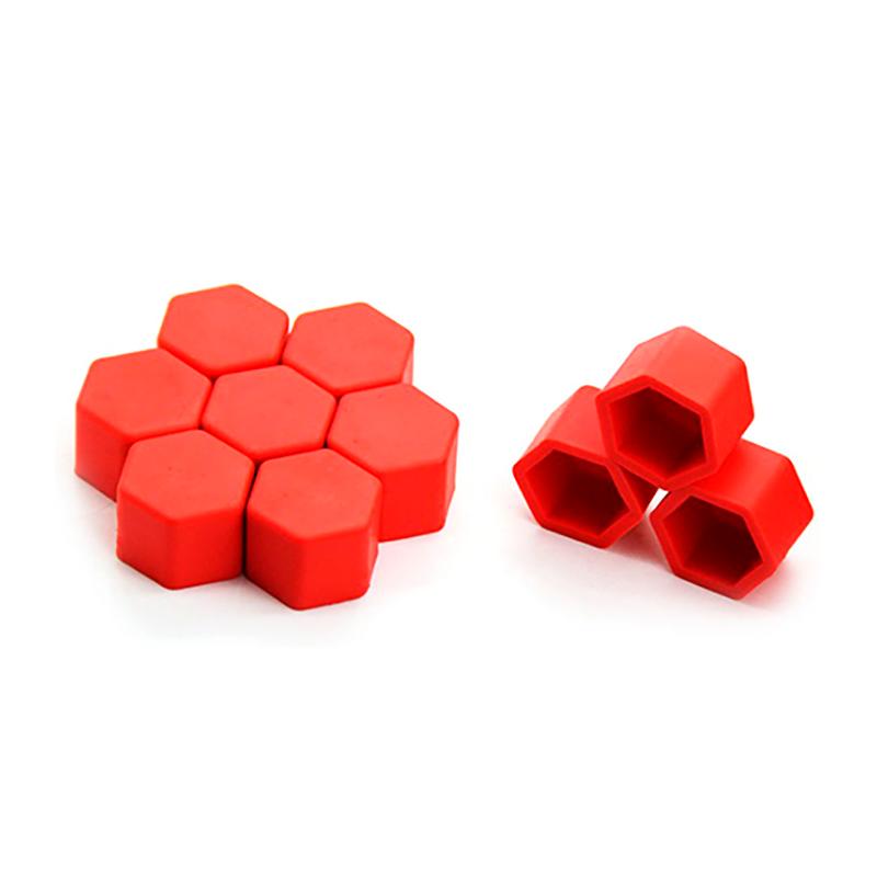 Защитные силиконовые колпачки на колесные гайки 17 мм красные