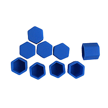 Защитные силиконовые колпачки на колесные гайки 17 мм синие