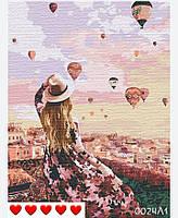 Картина по номерам Шары над городом (цветной холст) 40*50см Барви Розпис по номерах